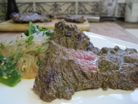 Chimichurri Flank Steak with Spicy Noodles