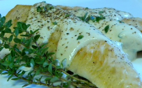 Chicken with Lemon Thyme Mustard Yogurt Sauce