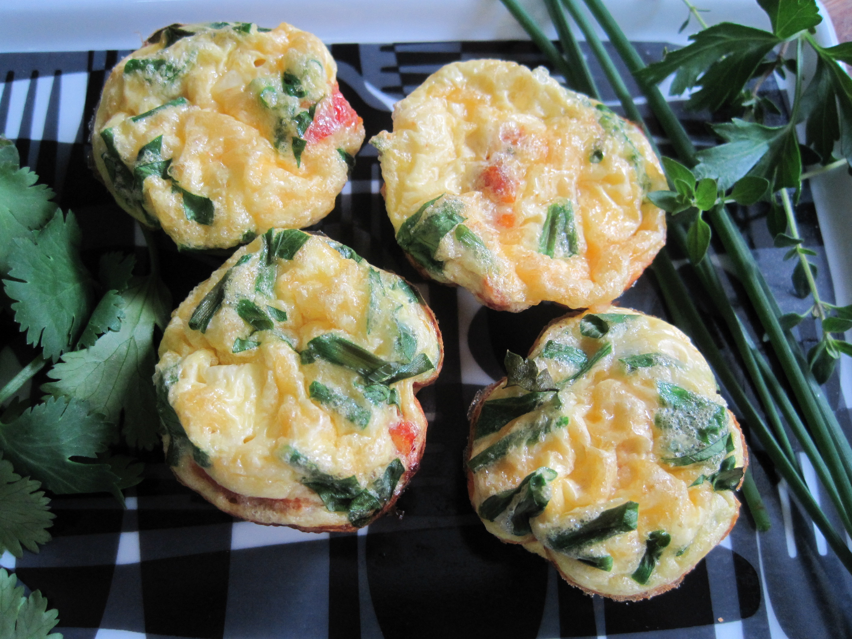 Chives, Sun-Dried Tomato, Parsley and Goat Cheese Frittatas