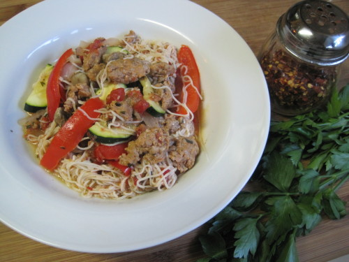 Angel Hair with Sausage and Vegetables