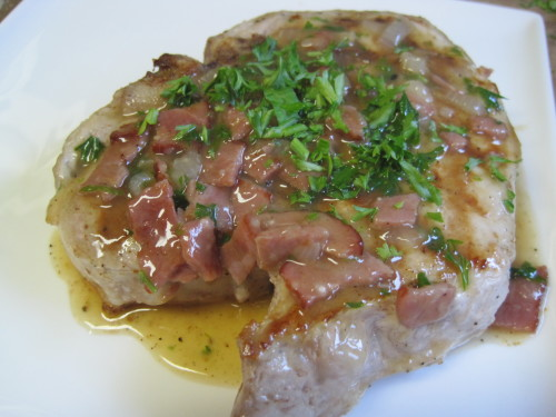 Pork Chops with Turkey Bacon and Beer Gravy