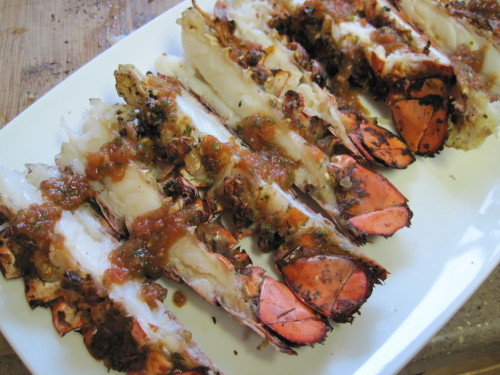 Grilled Lobster Tails with Fresh And Spicy Puree