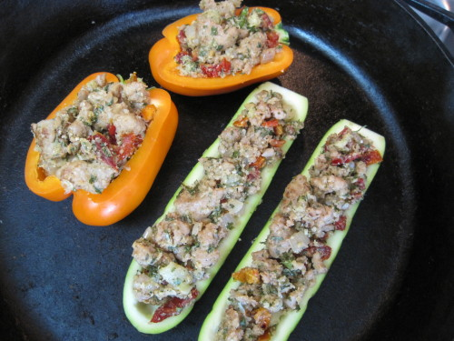Chicken Sausage Stuffed Zucchini and Bell Peppers