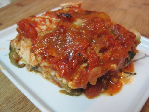 Chicken, Mushroom, Spinach and Zucchini Lasagne