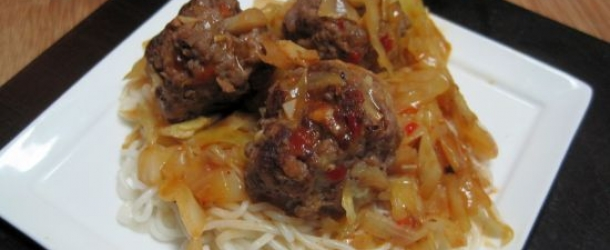 5-Spice Braised Meatballs with Cabbage