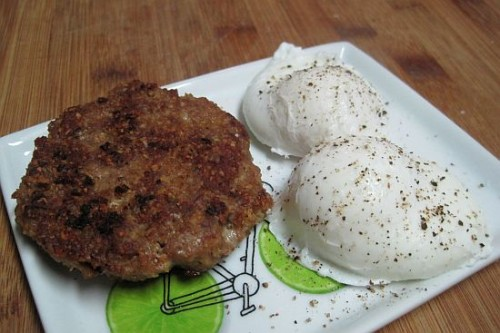 Turkey Sausage Patties with Poached Eggs