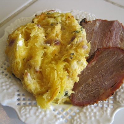 Spaghetti Squash with Roast Beef