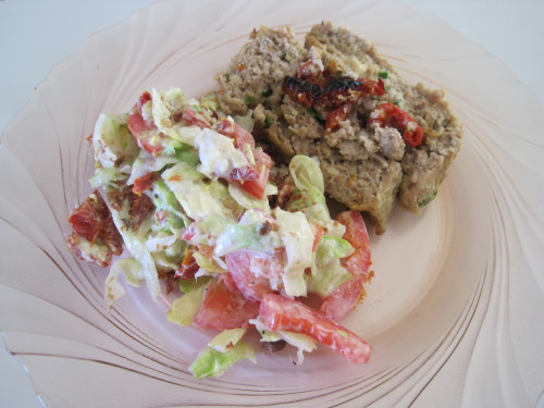 Sundried Tomato Salad and Meatloaf