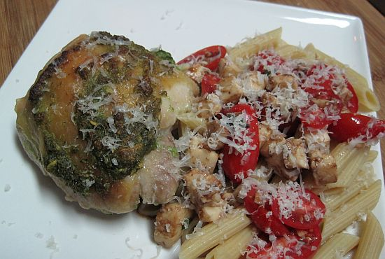 Garlic-Basil Chicken with Italian Salsa and Whole Wheat Pasta