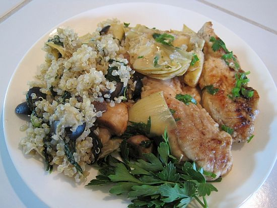 Chicken with Mushrooms and Artichoke Hearts -