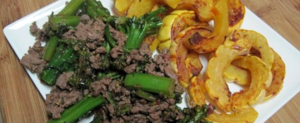 Sirloin and Baby Broccoli with Roasted Delicata Squash