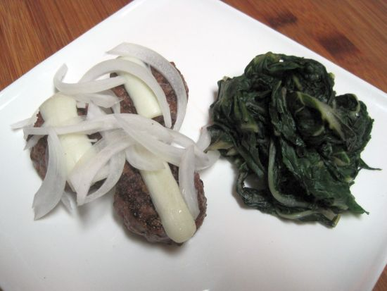 Mini Cheeseburgers with Sauteed Kale