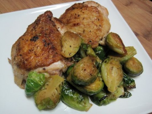Braised Chicken with Artichoke Hearts and Brussels Sprouts -
