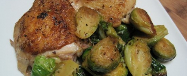 Braised Chicken with Artichoke Hearts and Brussels Sprouts