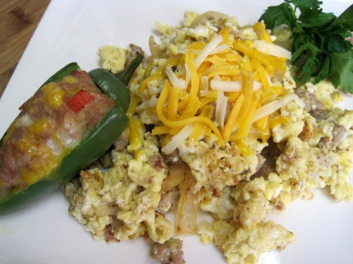 Dukan Diet Recipe Turkey Sausage Scramble with Stuffed Jalapenos